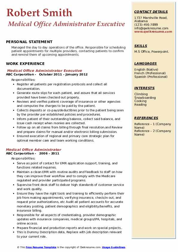 Medical Office Administrator Executive  Resume Template
