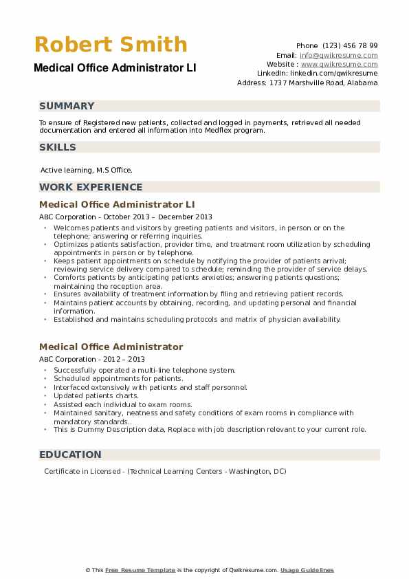 Medical Office Administrator LI Resume Template