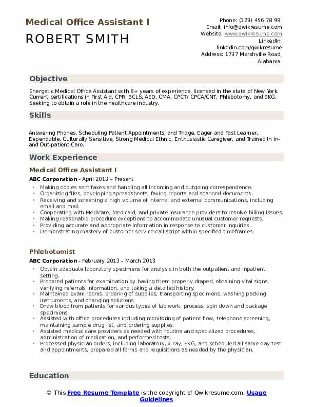 medical office assistant resume samples