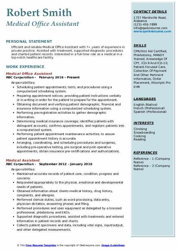Medical Office Assistant Resume Format