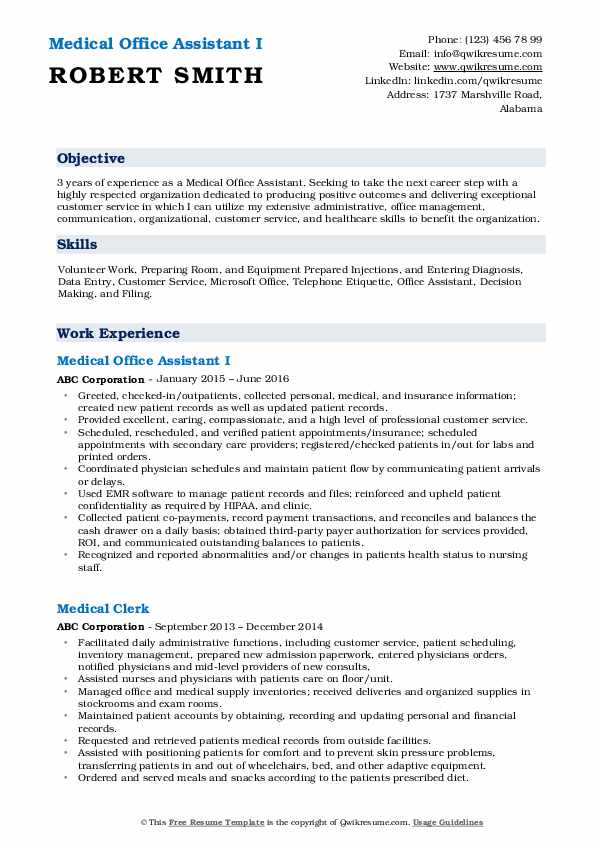 Medical Office Assistant I Resume Template
