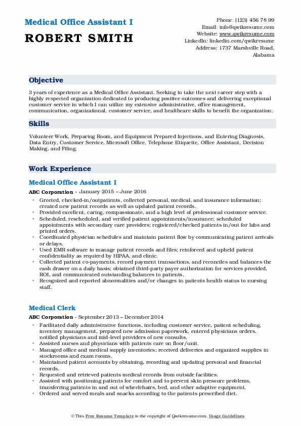 Medical Office Assistant I Resume Model