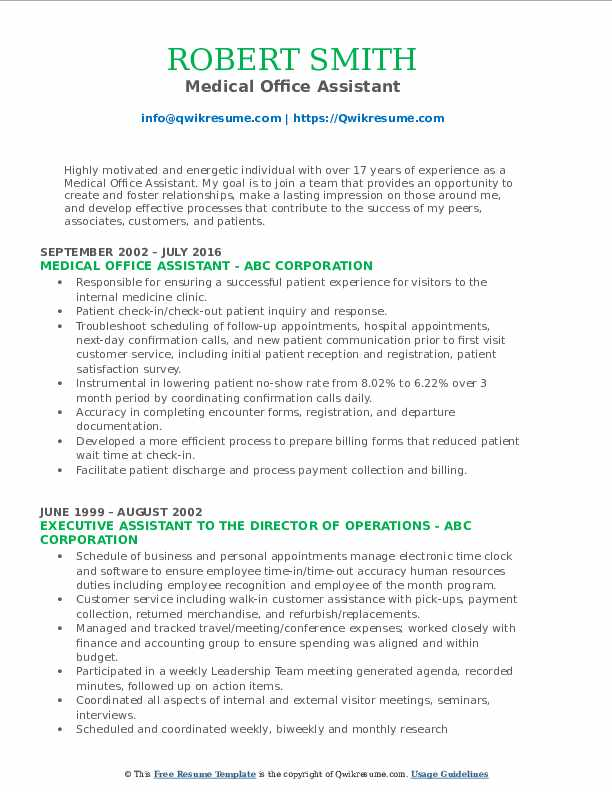 Medical Office Assistant Resume Example