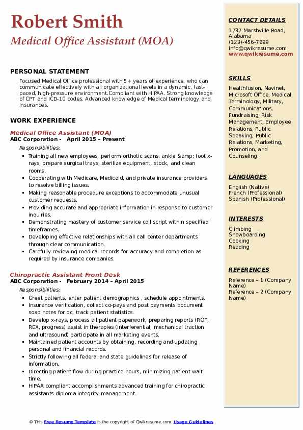 Medical Office Assistant (MOA) Resume Format