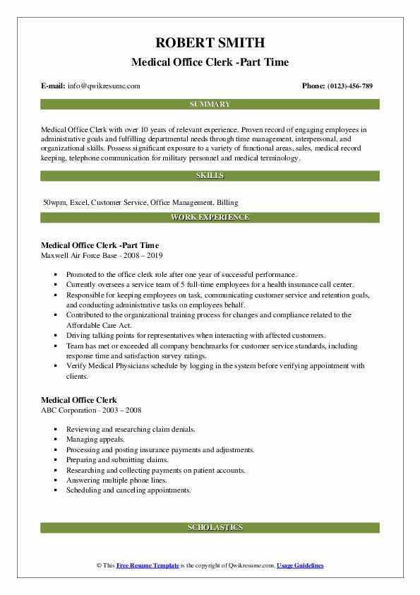 Medical Office Clerk -Part Time Resume Template