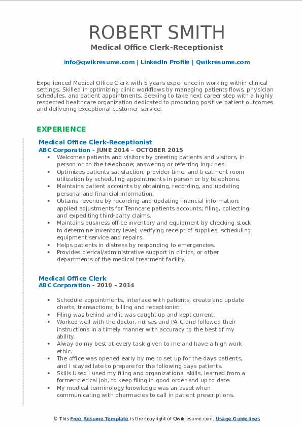 Medical Office Clerk-Receptionist Resume Format