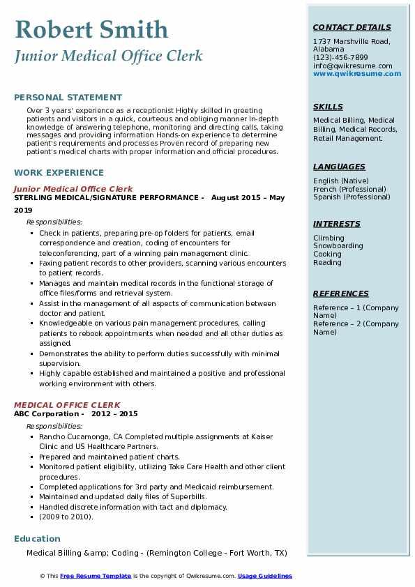 Junior Medical Office Clerk Resume Format