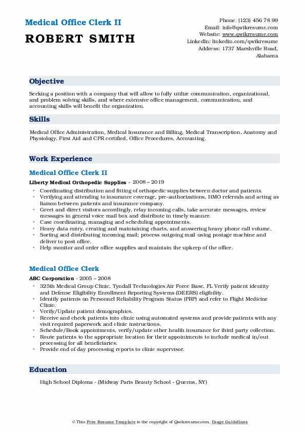 Medical Office Clerk II Resume Model