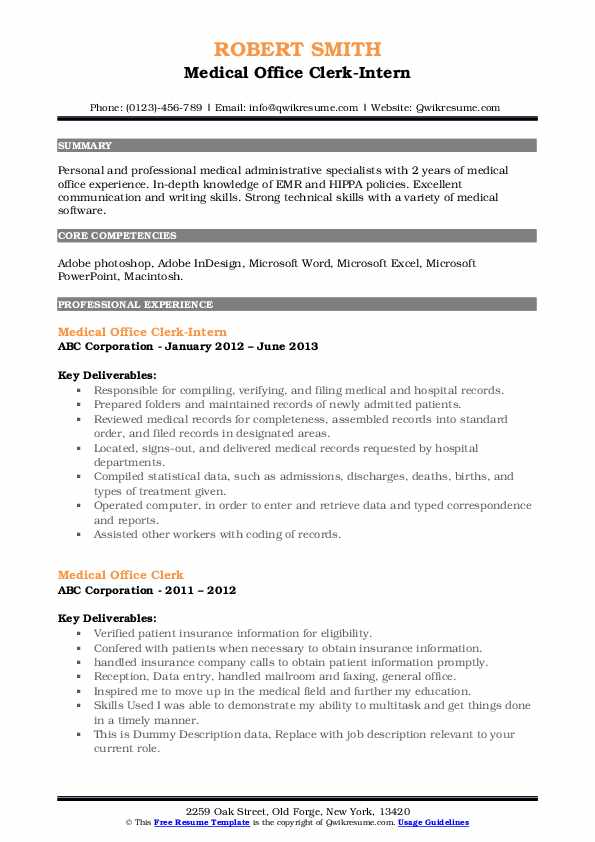 Medical Office Clerk-Intern Resume Format