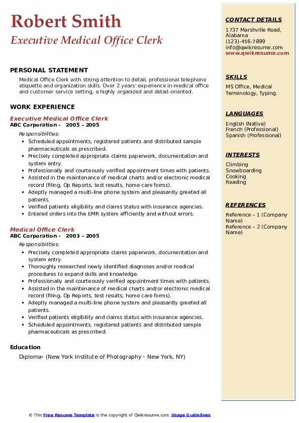 Executive Medical Office Clerk Resume Model