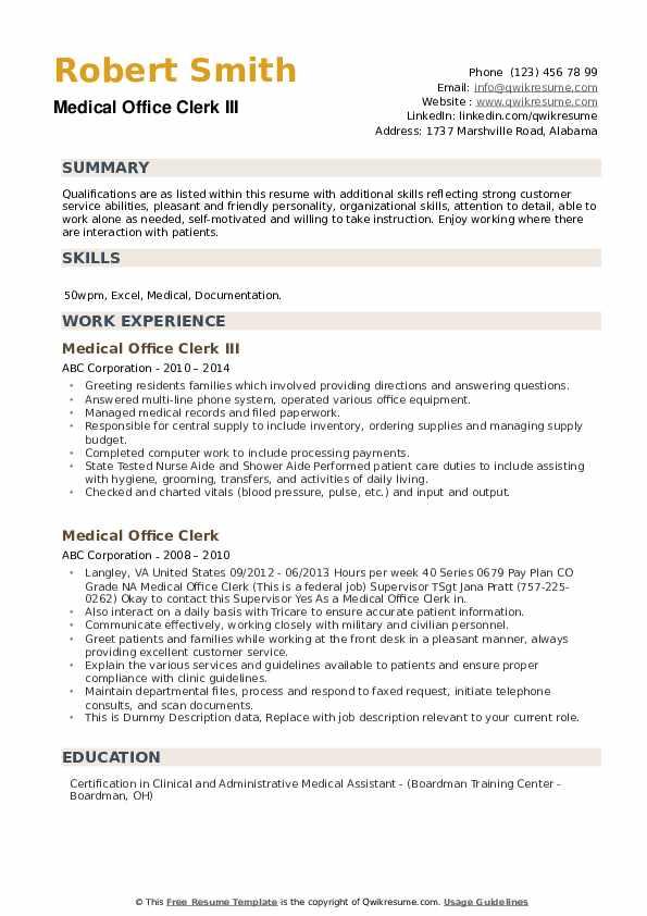 medical office clerk resume samples