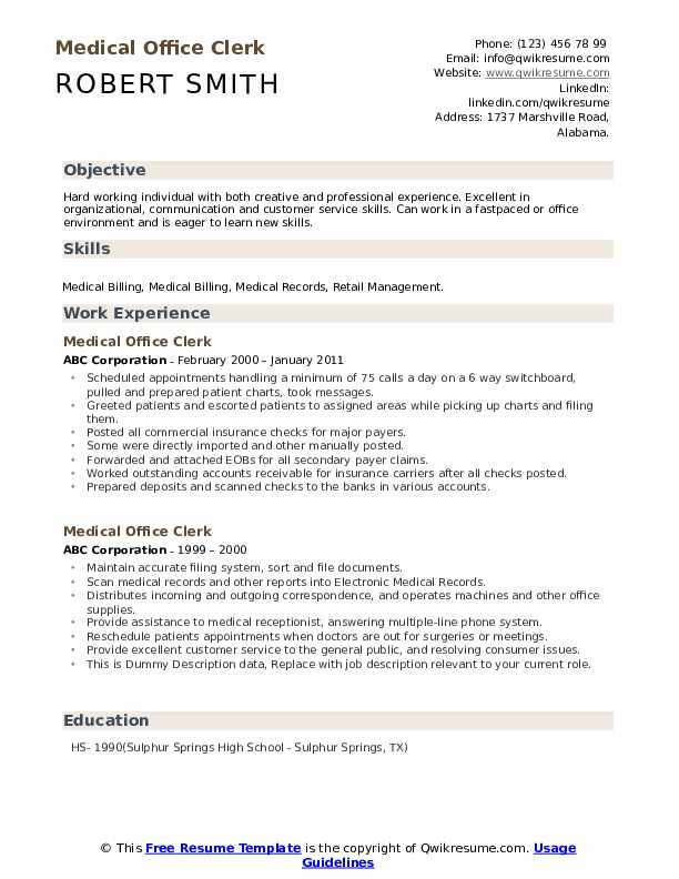 Medical Office Clerk Resume example