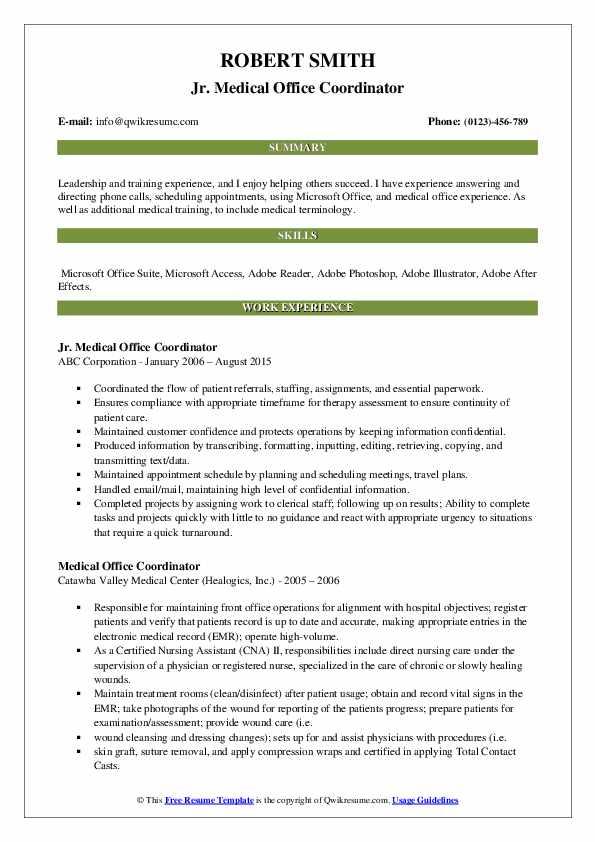 medical office coordinator resume samples  qwikresume