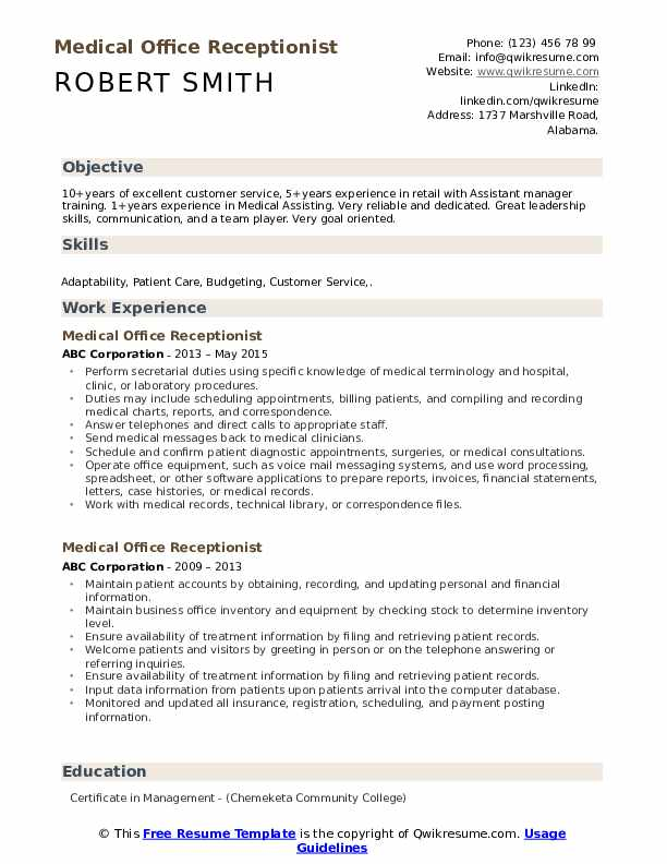 Medical Office Receptionist Resume Example