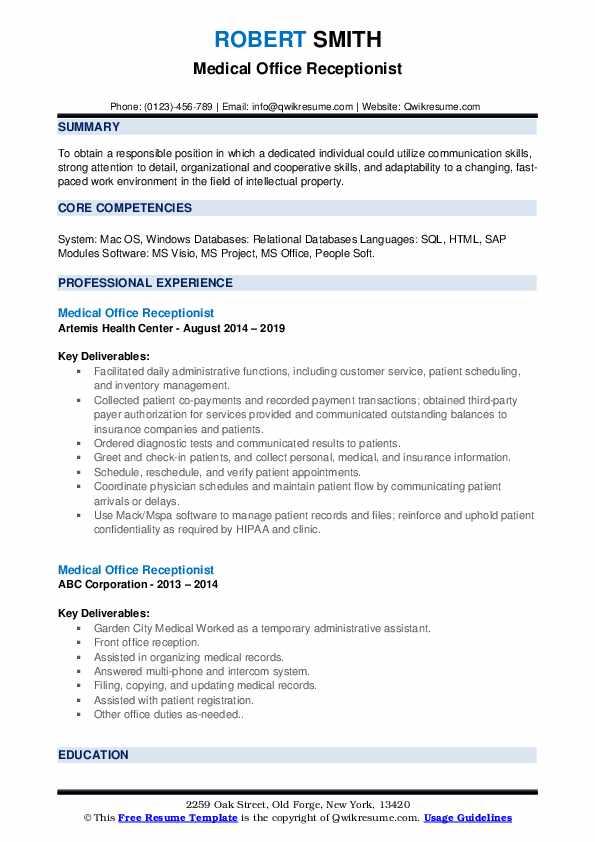 Medical Office Receptionist Resume Format