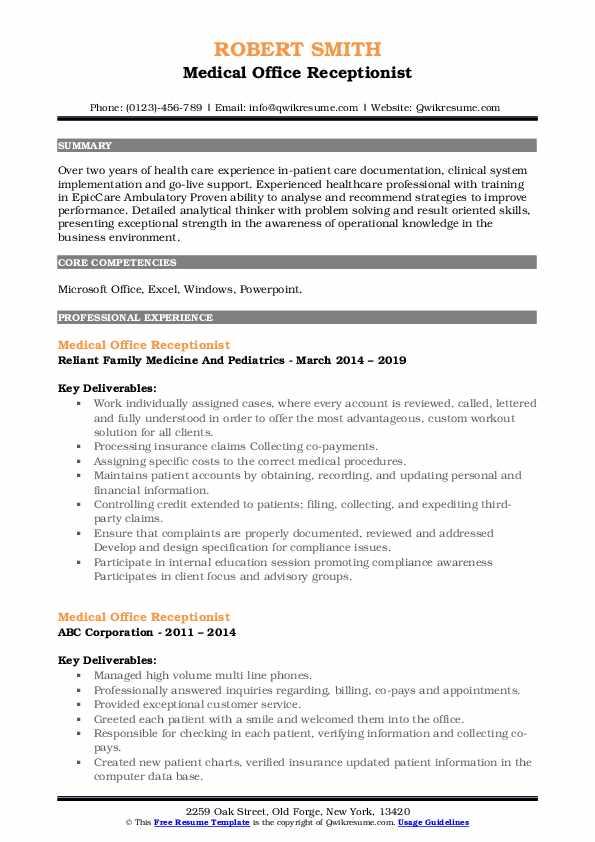 medical office receptionist resume samples  qwikresume