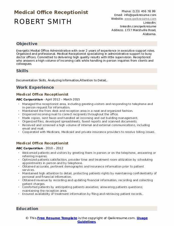 Medical Office Receptionist Resume Sample