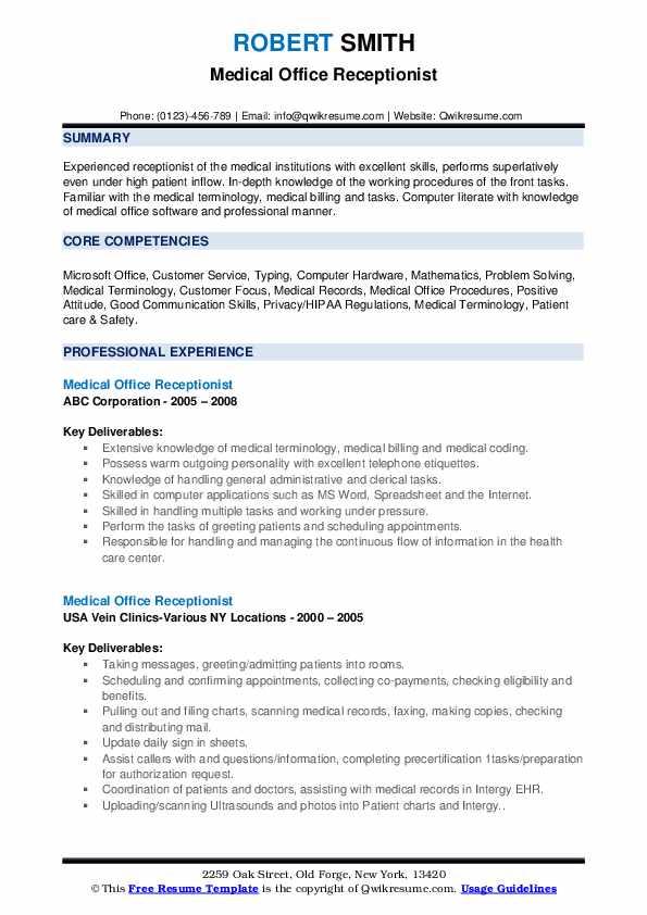 Medical Office Receptionist Resume Samples | QwikResume
