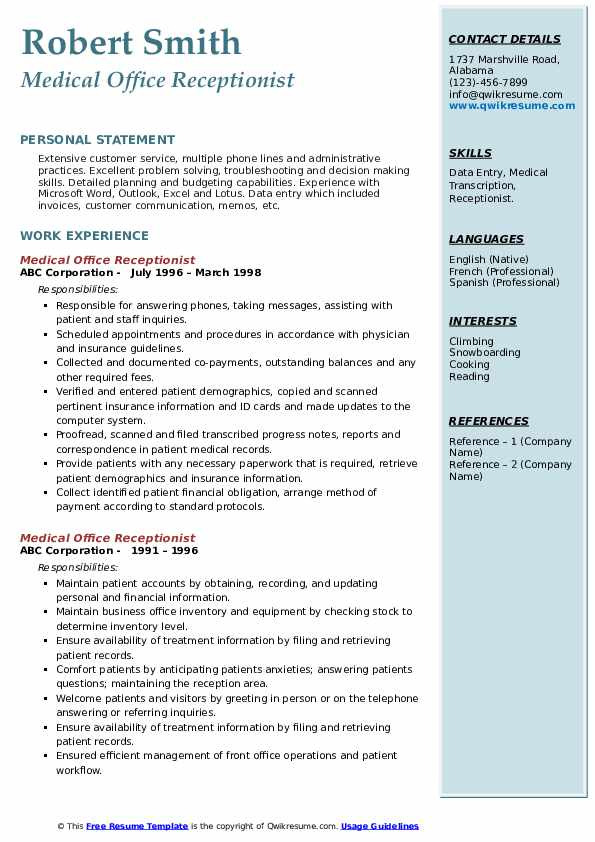 Medical Office Receptionist Resume Samples Qwikresume