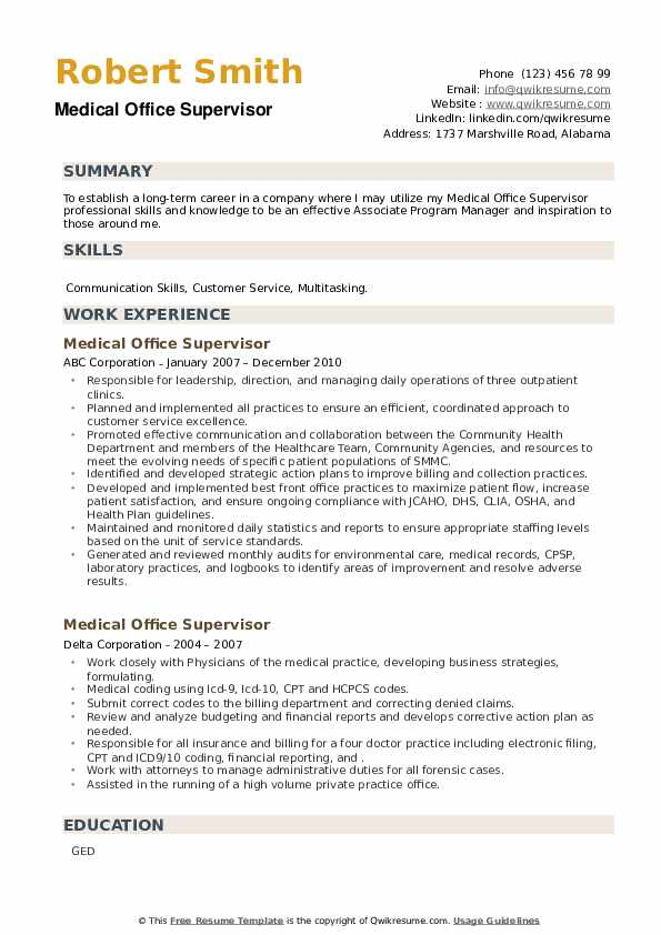 Medical Office Supervisor Resume example