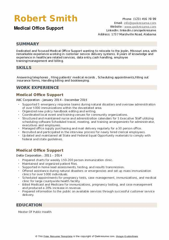 Medical Office Support Resume example