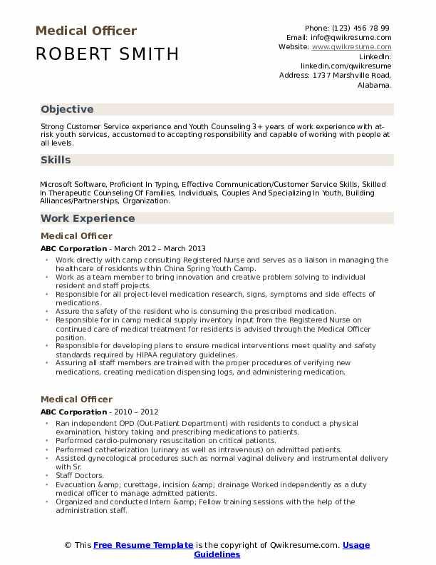 Medical Officer Resume Model