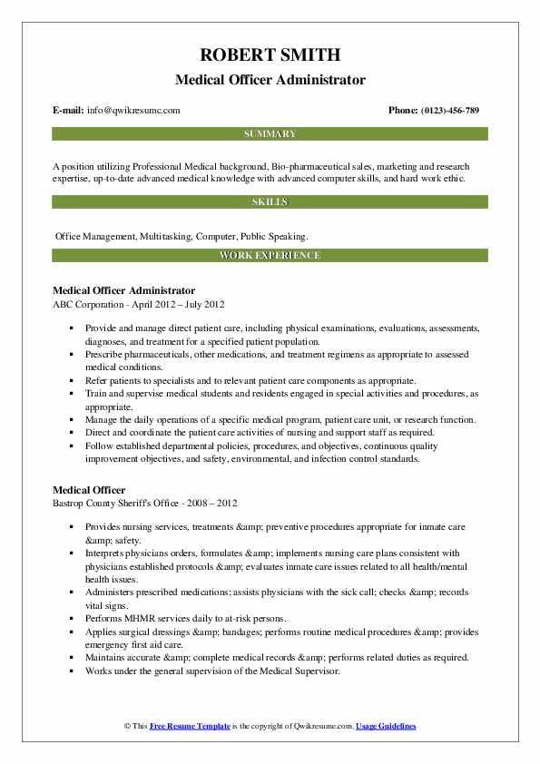 Medical Officer Administrator Resume Model