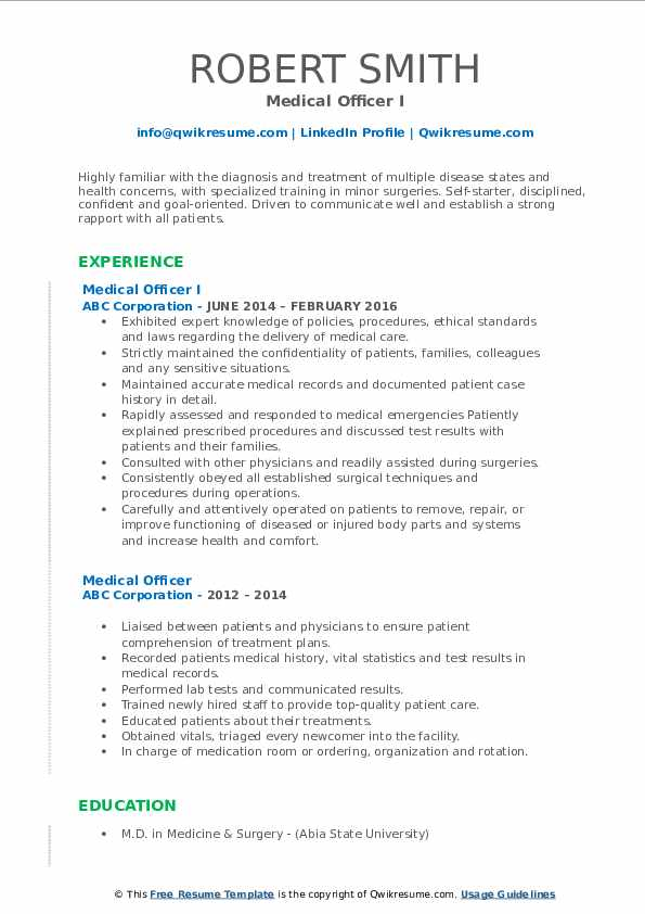Medical Officer I Resume Format