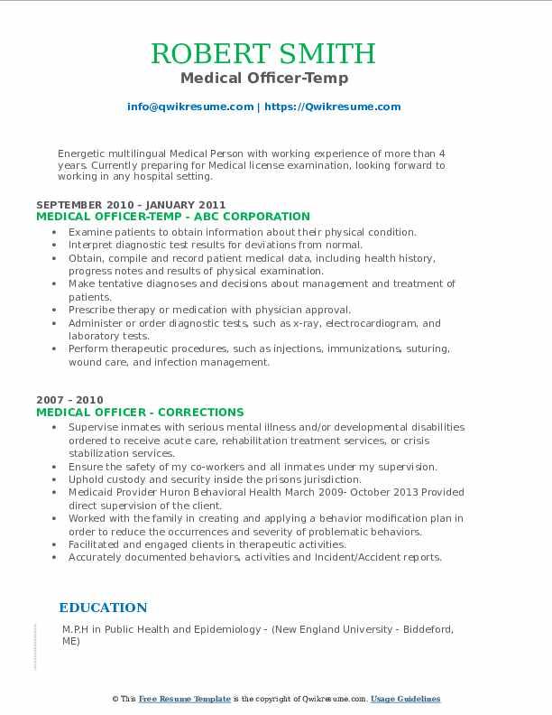 Medical Officer-Temp Resume Model