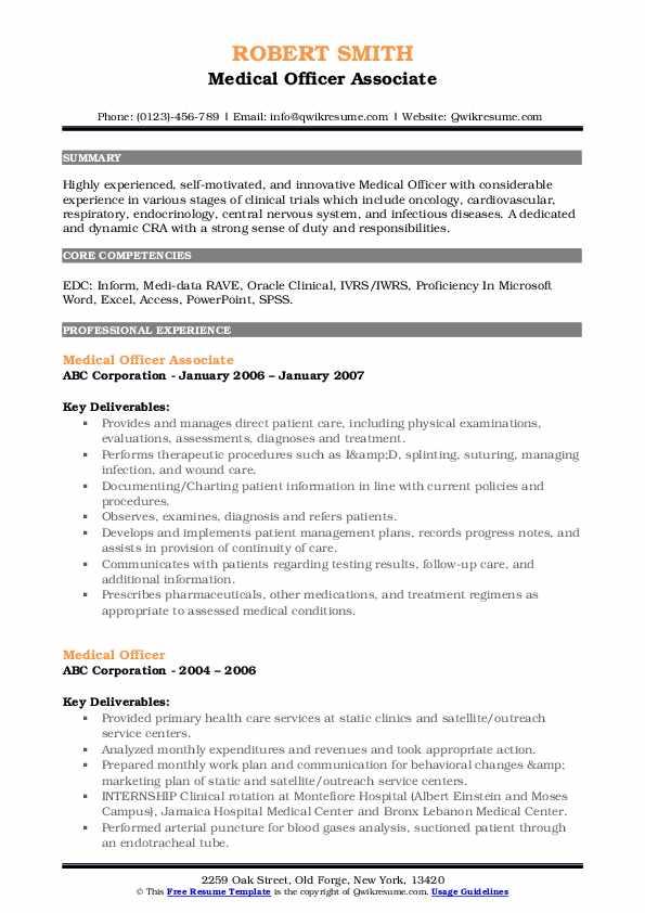 Medical Officer Associate Resume Sample