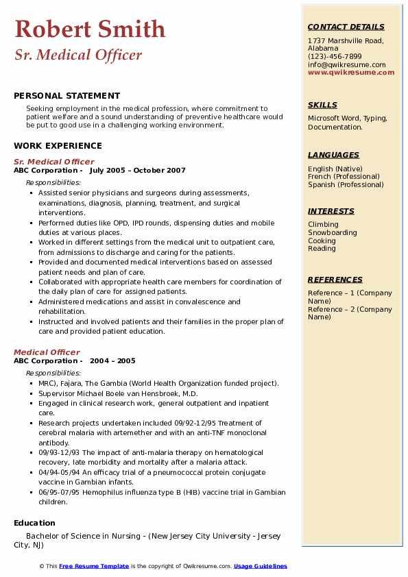 Sr. Medical Officer Resume Sample