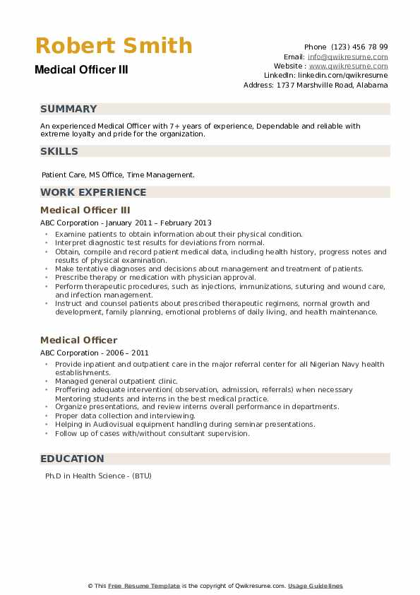 Medical Officer III Resume Sample