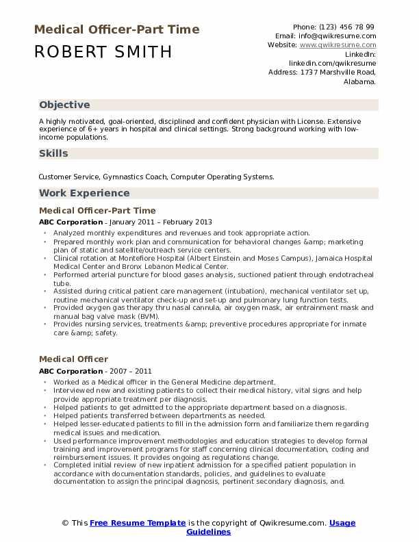 Medical Officer-Part Time Resume Model