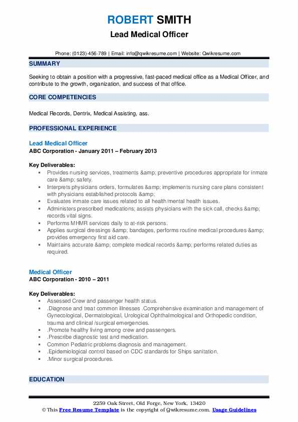 Lead Medical Officer Resume Example
