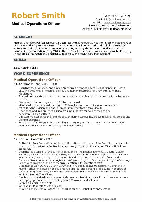 Medical Operations Officer Resume example