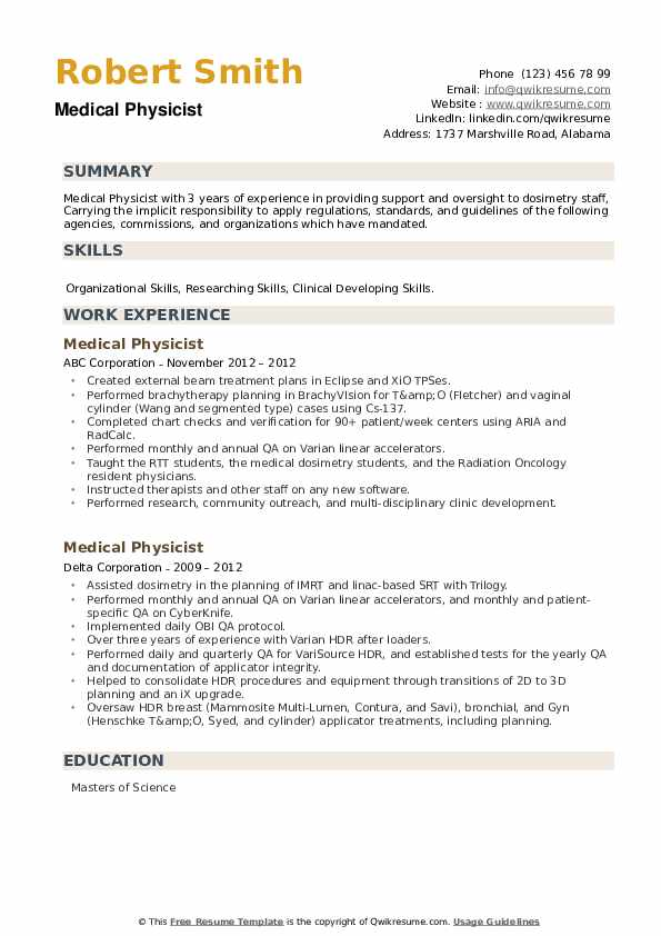 Medical Physicist Resume example