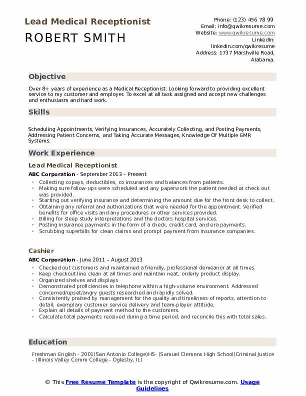 Medical Receptionist Resume Samples | QwikResume