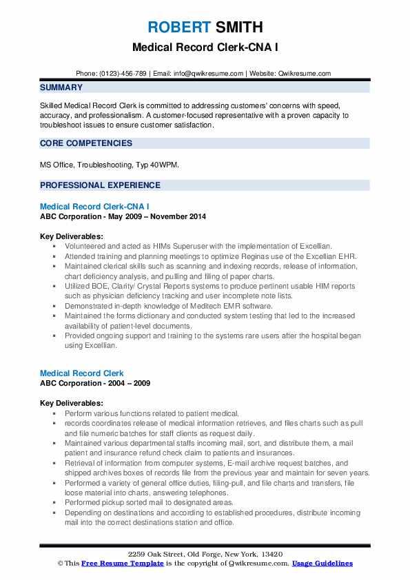 Medical Record Clerk-CNA I Resume Model