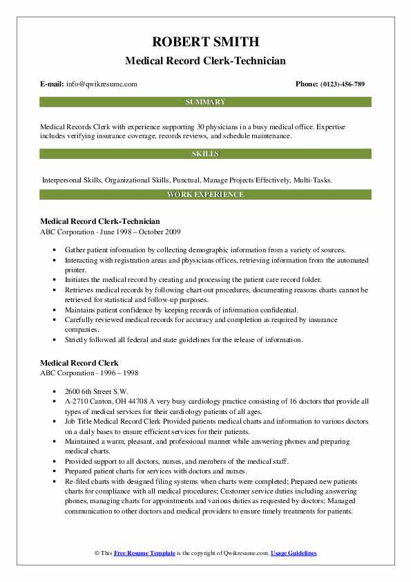 Medical Record Clerk-Technician Resume Template