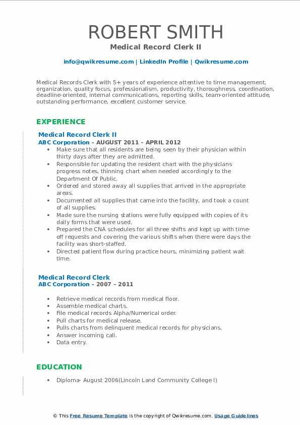 Medical Record Clerk II Resume Format