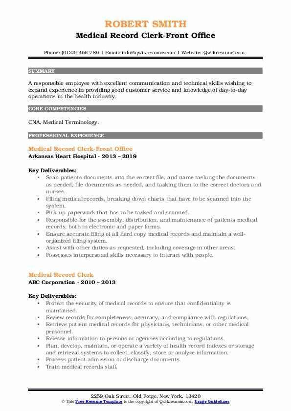 Medical Record Clerk-Front Office Resume Format