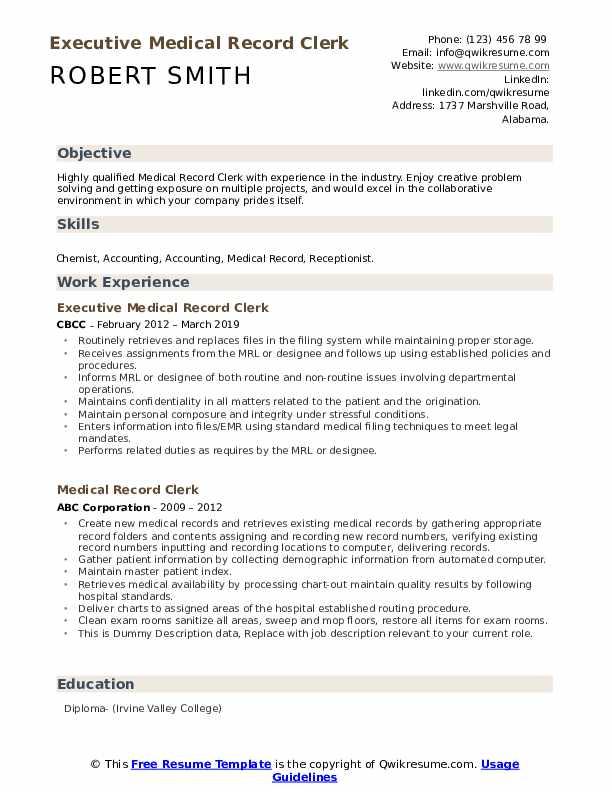 Executive Medical Record Clerk Resume Sample