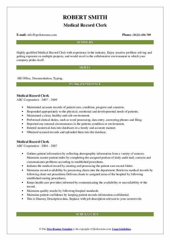 Medical Record Clerk Resume example