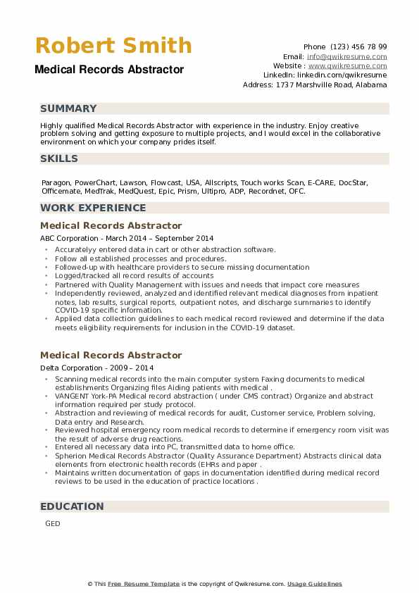 Medical Records Abstractor Resume example