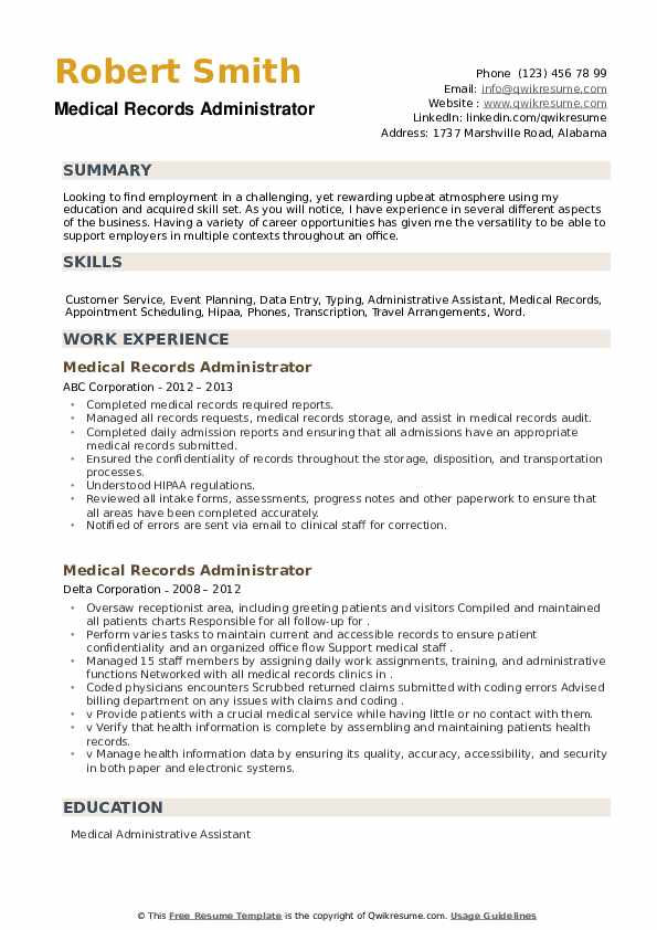 Medical Records Administrator Resume example