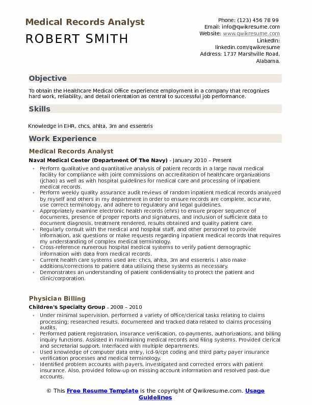 medical records analyst resume sample
