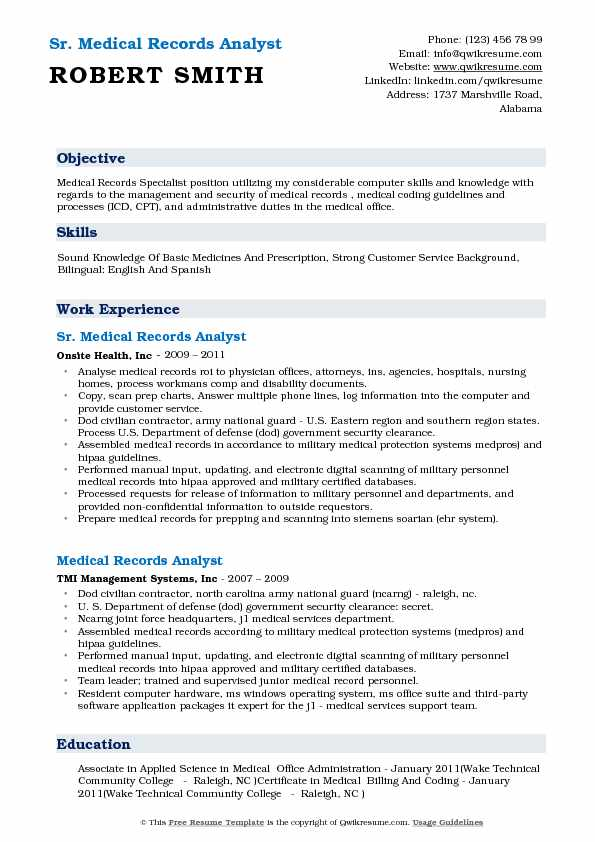 Sr. Medical Records Analyst Resume Example