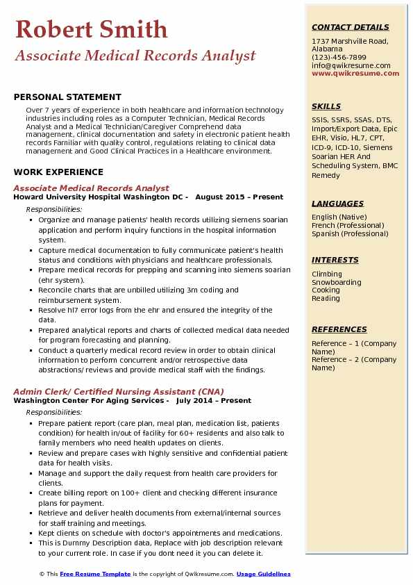 Associate Medical Records Analyst Resume Example