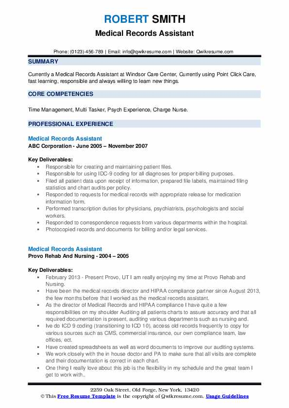 Medical Records Assistant Resume example