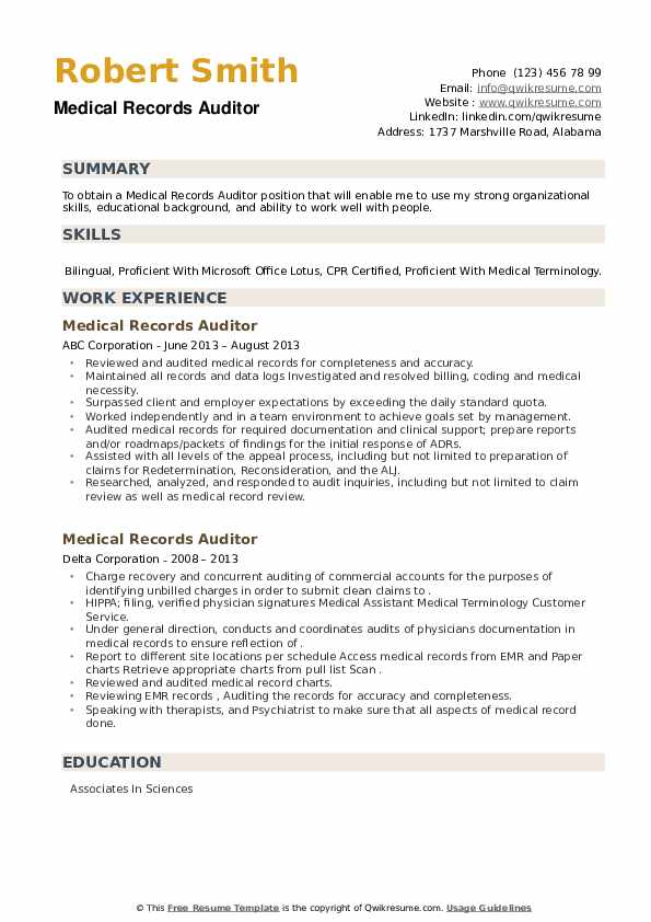 Medical Records Auditor Resume example